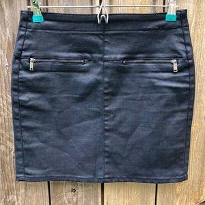 Zara Waxed Jean Mini Skirt